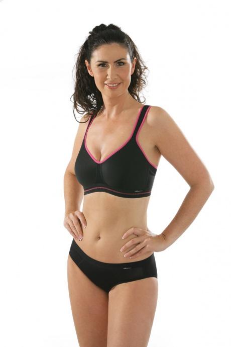 Comazo Funktionswäsche, Sport-BH für Damen in schwarz-pink - Ganzkörperansicht