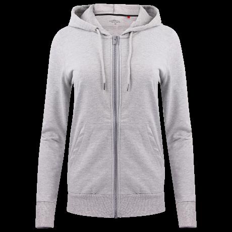 Unterwäsche Homewear Damen Jacke Kapuze grau-melange