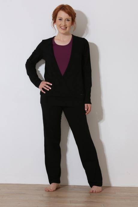Comazo Biowäsche, Shirt in Wickeloptik für Damen in schwarz - Gesamtansicht