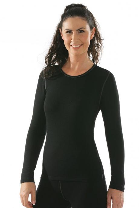 Comazo Funktionswäsche, Langarm Funktionsshirt für Damen schwarz - Vorderansicht