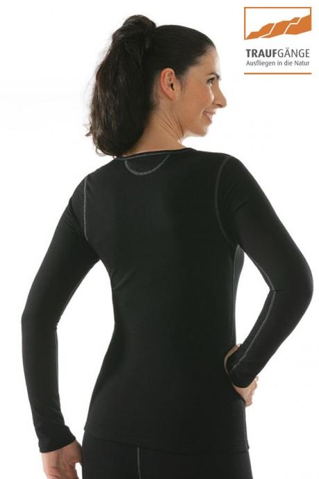 Comazo Funktionswäsche, Langarm Funktionsshirt für Damen schwarz - Rückansicht