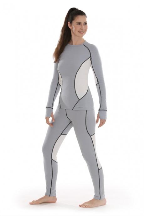 Comazo Funktionswäsche, Langarm Shirt für Damen in silver/offwhite - Gesamtansicht