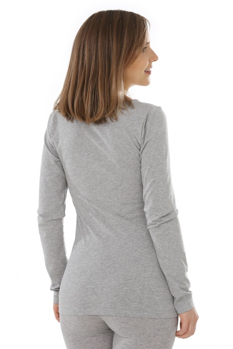 Comazo Biowäsche, langarm Shirt für Damen in grau-melange - Rückansicht