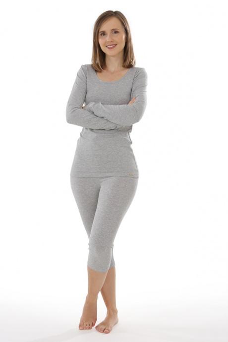 Comazo Biowäsche, langarm Shirt für Damen in grau-melange - Gesamtansicht