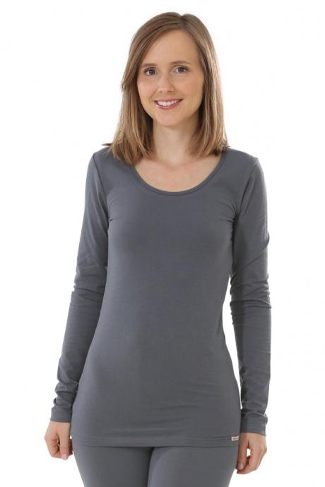 Comazo Biowäsche, Langarm Shirt für Damen in anthrazit - Vorderansicht