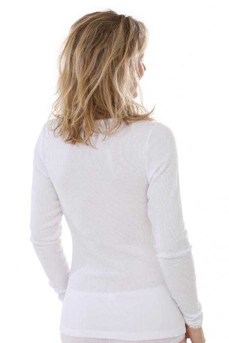 Comazo Biowäsche, langarm Shirt für Damen in weiss - Rückansicht