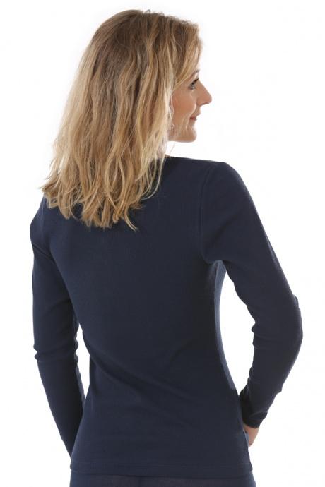 Comazo Biowäsche, langarm Shirt für Damen in marine - Rückansicht