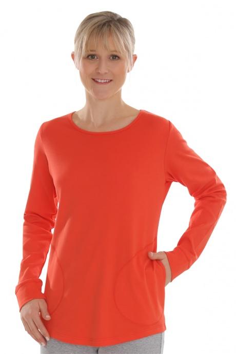 Comazo Biowäsche, Shirt langarm für Damen in blutorange - Vorderansicht
