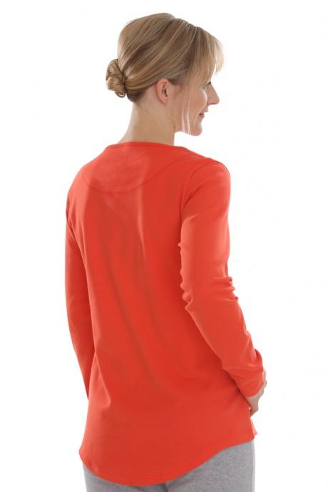 Comazo Biowäsche, Shirt langarm für Damen in blutorange - Rückansicht