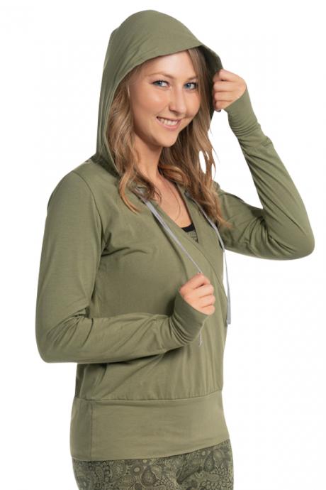 Comazo Biowäsche Damen Shirt 1/1 Arm, Kapuze in avokado