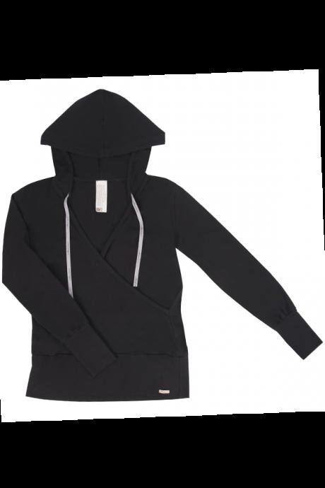 Comazo Biowäsche Damen Shirt 1/1 Arm, Kapuze in schwarz