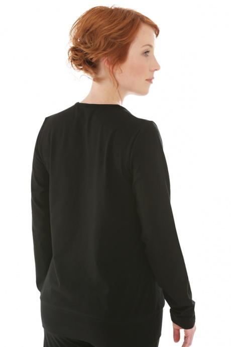 Comazo Biowäsche, Shirt in Wickeloptik für Damen in schwarz - Rückansicht