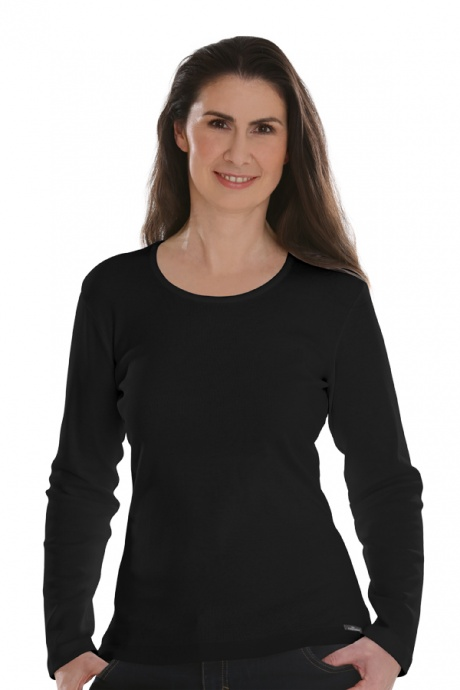 Comazo Lieblingswäsche, Basic Shirt für Damen langarm in Baumwolle in schwarz