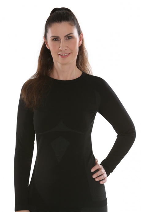 Comazo Funktionswäsche, Langarm Shirt für Damen in schwarz/anthrazit  - Vorderansicht