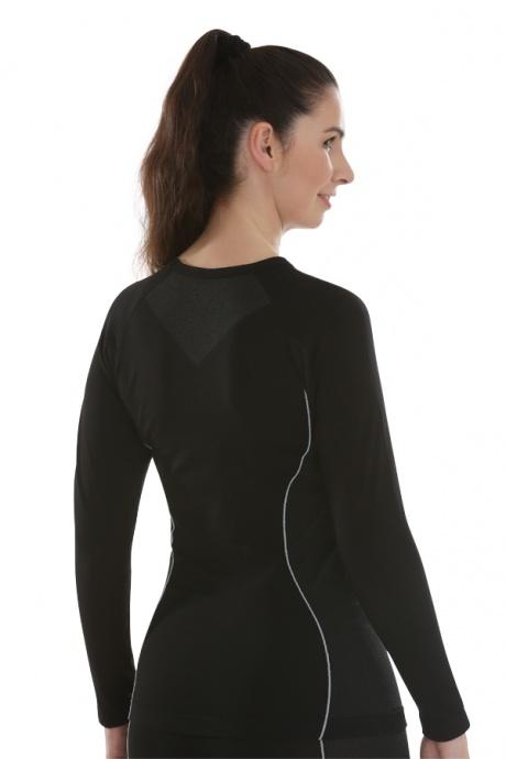 Comazo Funktionswäsche, Langarm Shirt für Damen in schwarz/anthrazit  - Rückansicht