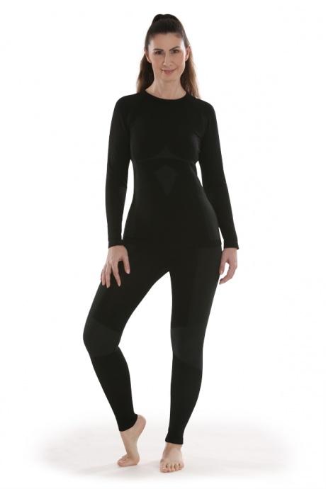Comazo Funktionswäsche, Langarm Shirt für Damen in schwarz/anthrazit  - Gesamtansicht