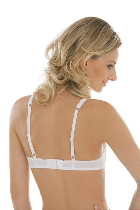Comazo Unterwäsche, Bügel-BH mit Stickblümchen für Damen in weiss - Rückansicht