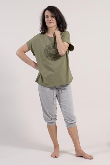 Comazo Biowäsche Damen 3/4 lange Hose in grau-melange