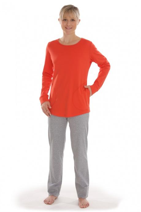Comazo Biowäsche, Hose lang für Damen in grau-melange - Gesamtansicht