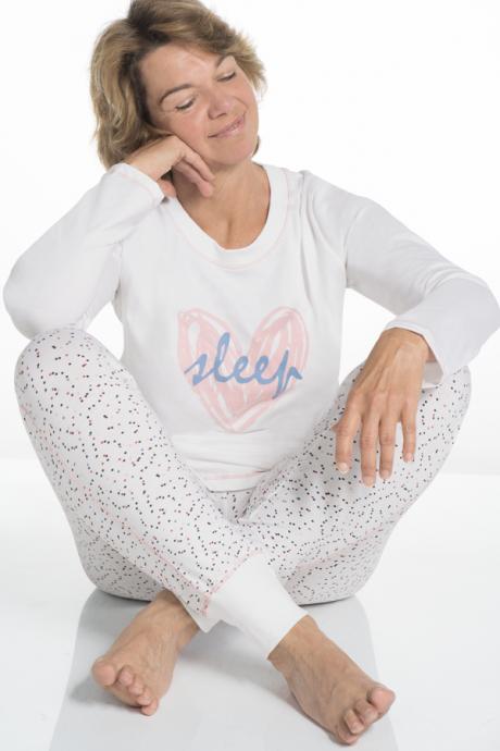 Comazo Lieblingswäsche Damen Schlafanzug in weiss bedruckt