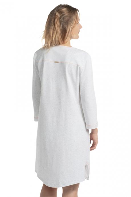 Comazo Biowäsche Damen Nachthemd in perle gestreift