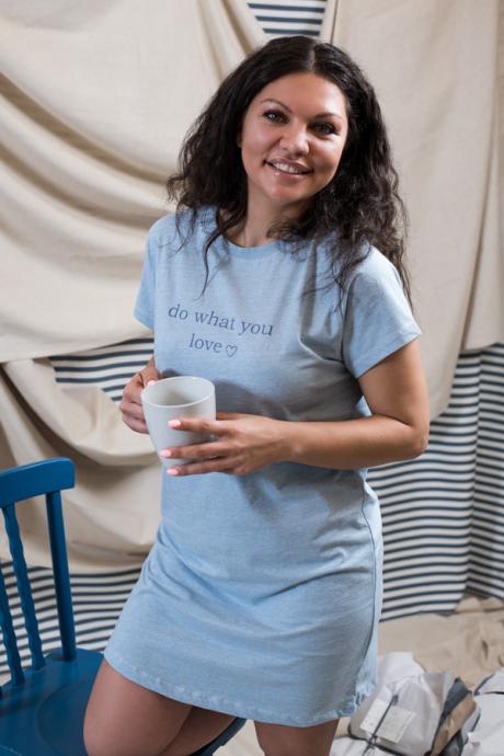 Comazo Lieblingswäsche Sleepshirt Damen in blau-melange