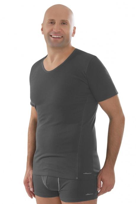 Comazo Biowäsche,Shirt mit V-Ausschnitt in anthrazit - Vorderansicht