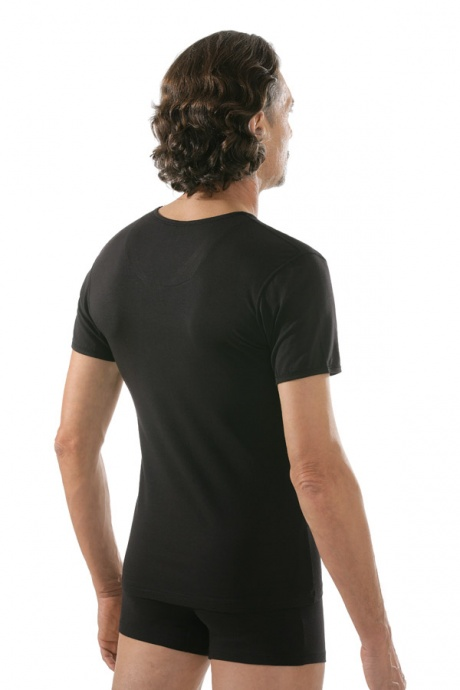 comazo|black Unterwäsche, Kurzarm Shirt in schwarz - Rückansicht