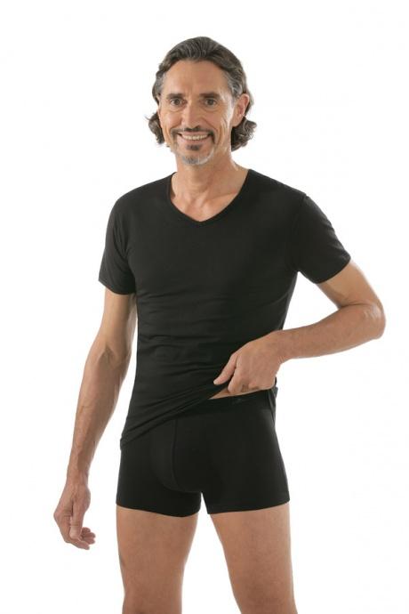 comazo|black Unterwäsche, Kurzarm Shirt in schwarz - Gesamtansicht