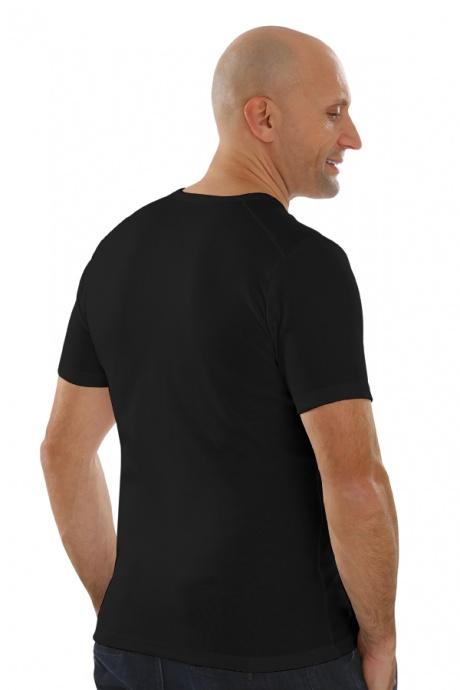 Comazo Lieblingswäsche, Basic Shirt für Herren kurzarm in Baumwolle in schwarz