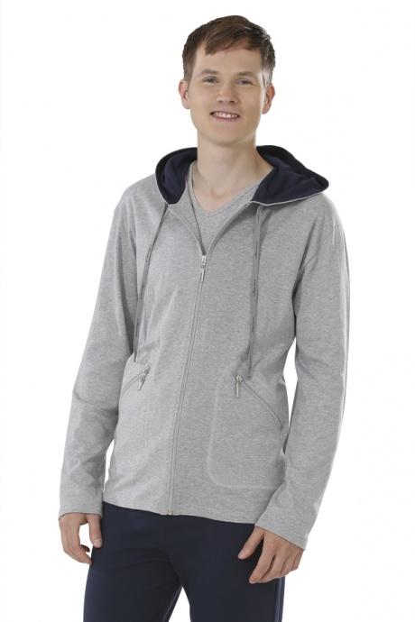 Comazo Biowäsche, Jacke mit Kapuze für Herren in grau-melange - Vorderansicht