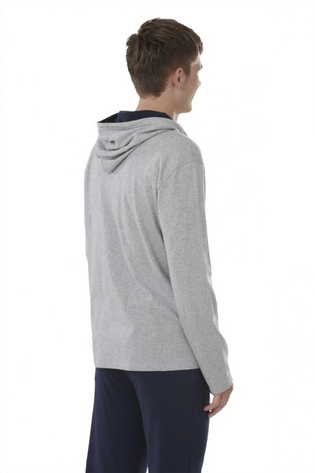 Comazo Biowäsche, Jacke mit Kapuze für Herren in grau-melange - Rückansicht