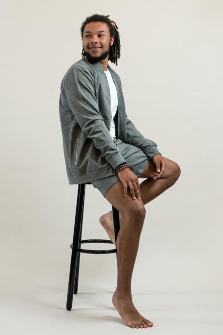 Comazo Lieblingswäsche Homewear Herren Jacke mit Kragen in grau-melange