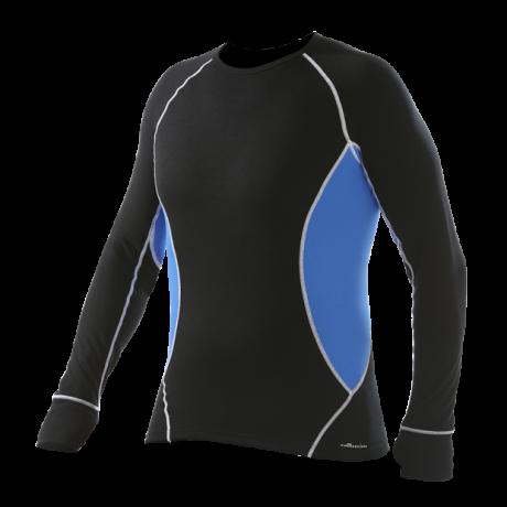 Comazo Funktionswäsche, Langarm Shirt für Herren in schwarz/strongblue  - Rückansicht