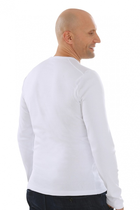 Comazo Lieblingswäsche, Basic Shirt für Herren langarm in Baumwolle in weiss