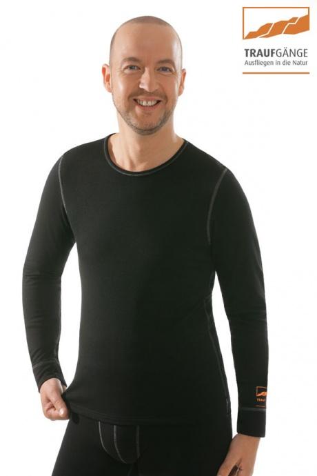 comazo|active Funktionswäsche, Langarm Funktionsshirt in schwarz - Vorderansicht