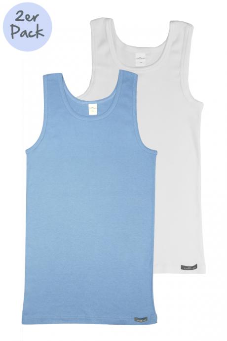 Comazo Lieblingswäsche Kinder Unterhemd weiss und blau