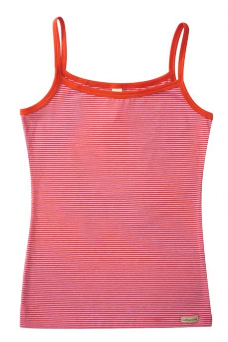 Comazo Biowäsche, Spaghettiträger-Hemd für Mädchen, tomate geringelt - Vorderansicht