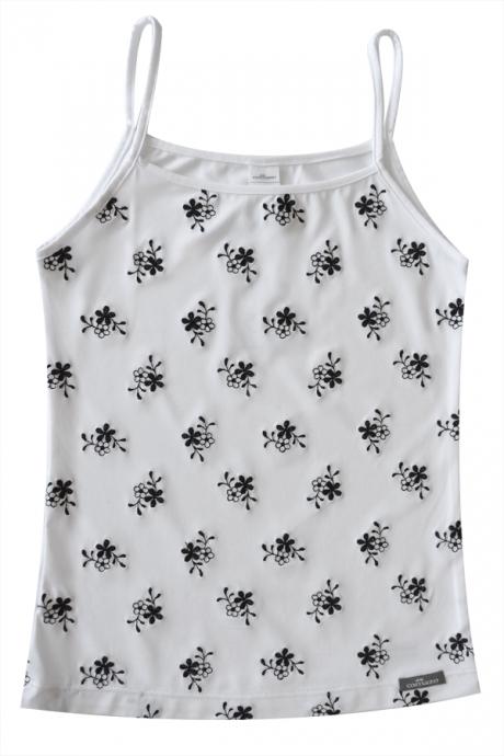 Comazo Unterwäsche, Spaghettiträgerhemd für Mädchen in weiss/schwarz