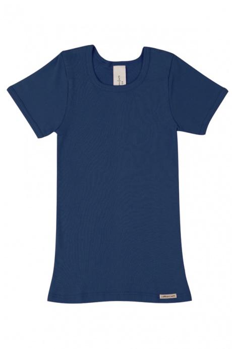 Comazo Biowäsche, Kurzarmshirt für Mädchen und Knaben in marine - Vorderansicht
