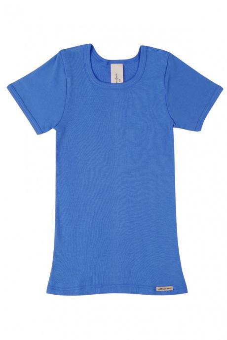 Comazo Biowäsche, Kurzarmshirt für Mädchen und Knaben in blau - Vorderansicht
