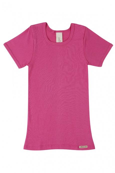 Comazo Biowäsche, Kurzarmshirt für Mädchen und Knaben in clematis - Vorderansicht