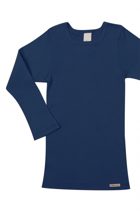 Comazo Biowäsche, Kindershirt langarm für Mädchen und Knaben in marine - Vorderansicht