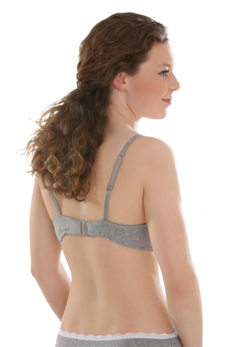 Comazo Unterwäsche, Schalen-BH für Mädchen in grau-melange - Rückansicht