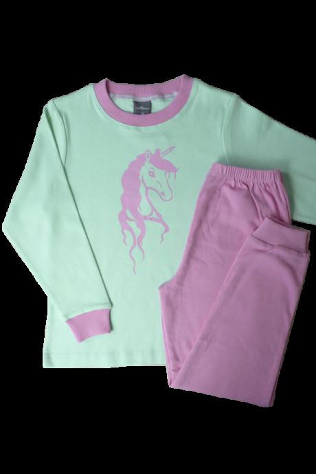 Comazo Lieblingswäsche Mädchen Schlafanzug mit Einhorn Druck in pink und mint