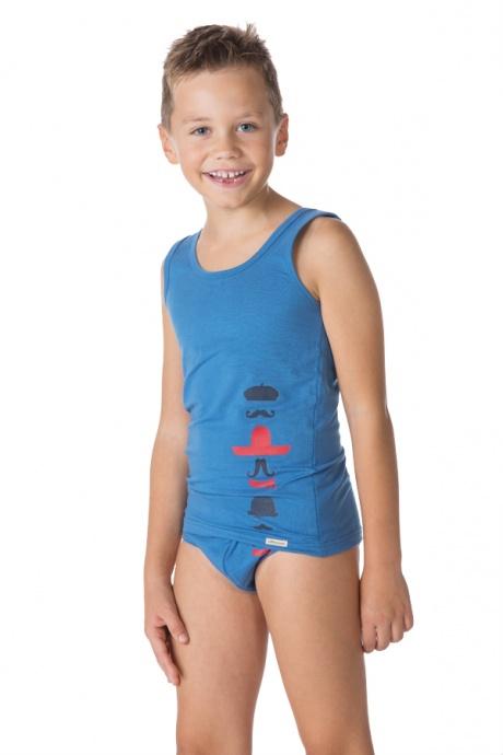 Comazo Biowäsche, Unterhemd für Jungen im 2-er Pack in blau und weiss
