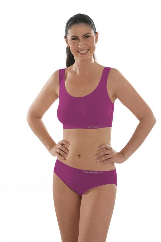model in maroon sports bra and panties