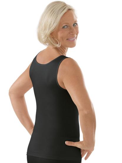 Comazo Unterwäsche, Unterhemd für Damen in schwarz - Rückansicht