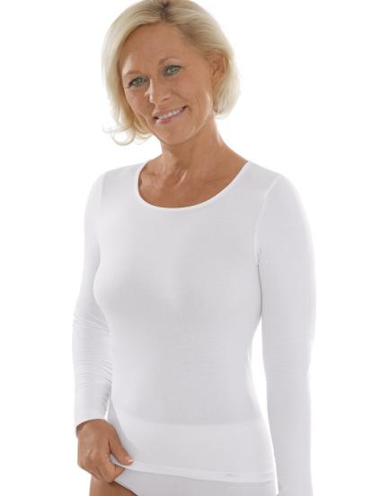 Comazo Unterwäsche, Langarm Shirt für Damen in weiss -Vorderansicht