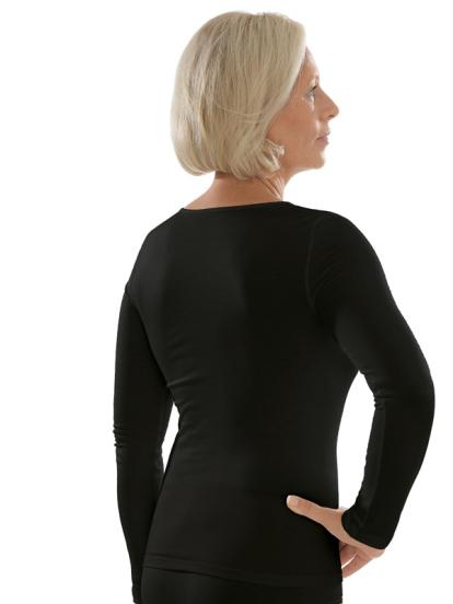 Comazo unterwäsche, Langarm Shirt für Damen in schwarz - Rückansicht